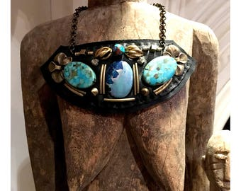 THE SHIELD NECKLACE by Gilded-Mane : Turquoise & Jasper Beads on Black Leather, Large