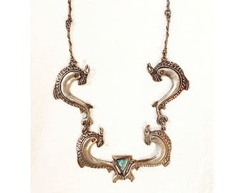 Silver Necklace w/ Turquoise Inlaid Centerpiece