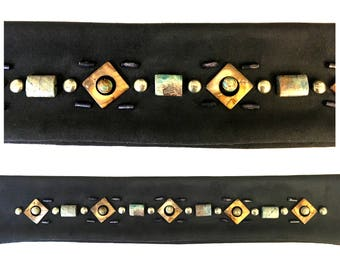 THE WINTER HEADBAND by Gilded-Mane : Wood, African Turquoise, Mother of Pearl & Pyrite Beads on Faux-Suede w/ Comfort Stretch, Black