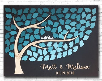 Alternative Wedding Guest Book Wood Custom Guestbook for a Unique Wedding 3D Decor Wooden Blue Teal Wedding Color Scheme Personalized Gift
