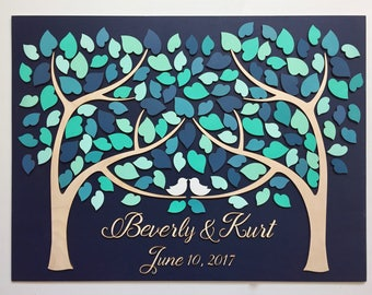 Wedding Guest Book Alternative 3D Guestbook Wood Tree of Hearts Two Families Become One Aqua Turquoise Teal Blue Wedding Decor