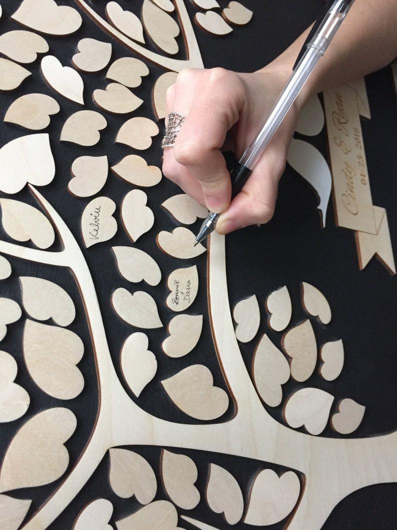 Rustic guest book alternative made in 3D wood and custom colors ideal for wedding or event guest book signature tree