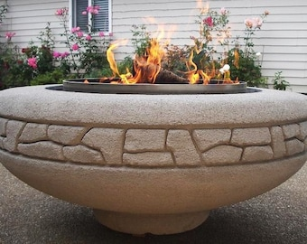 Concrete Firepit (Firepot) Hand-Carved by Joe Rivera & Cristi Mason-Rivera (Rockwall Design)