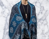 V2 DIVINITY Turquoise Sacred Geometry Ultra-Soft Festival Shawl Festival Scarf Festival Pashmina Festival Clothing Rave