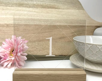 Clear Geometric Table Number - Acrylic with Timber Base - Wedding Table Decoration - Cafe Restaurant