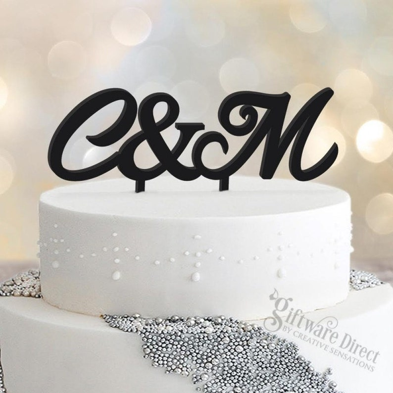 Personalised Initial Wedding Cake Topper Acrylic Decoration image 0