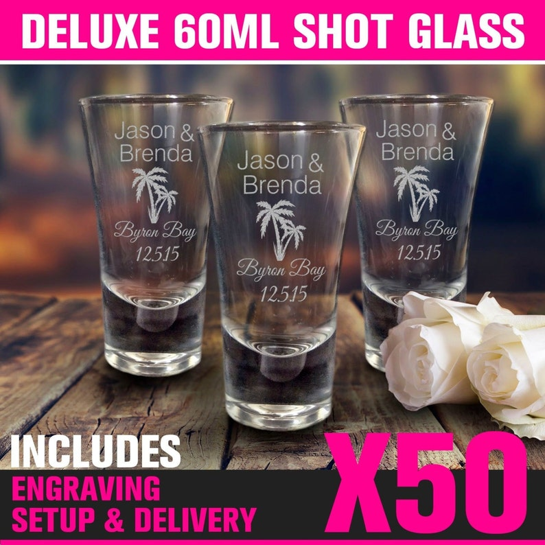 20-200 Wedding Personalised Engraved Shot Glasses Guest Favour Bomboniere Gift