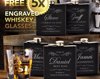 5 x Engraved Black Hip Flask Gift Sets Personalised Groomsman Gift with Quick Production. 6oz Flask with Shotties & Funnel In Gift Box