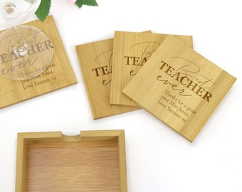 Personalised Engraved Square Bamboo Teachers Gift Coaster Gift Set of 4 - End of Term Teachers Gift