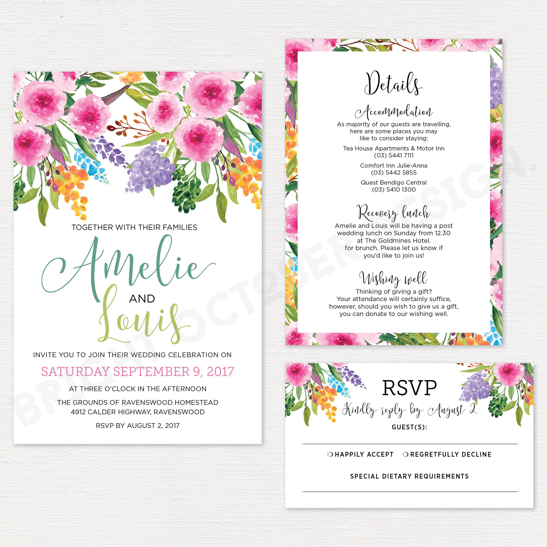 Native American Wedding Invitations: Native Floral Wedding Invitation Suite Digital Download