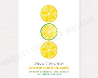 Lemon save the date card   digital download