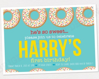 Custom first birthday donut invitation | DIGITAL DOWNLOAD