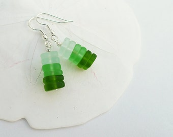 Green EarringsRecycled Glass EarringsLong Green EarringsLong Cones of Sea GlassSea Green Glass EarringsFree Gift Wrap