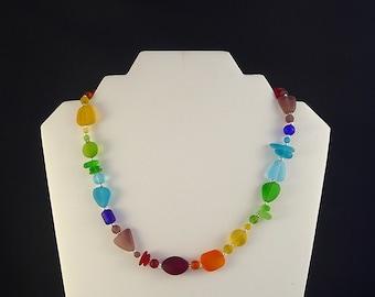Rainbow sea glass necklace seaglass jewelry sea glass jewelry rainbow seaglass necklace beach glass colorful jewelry colorful necklace gift
