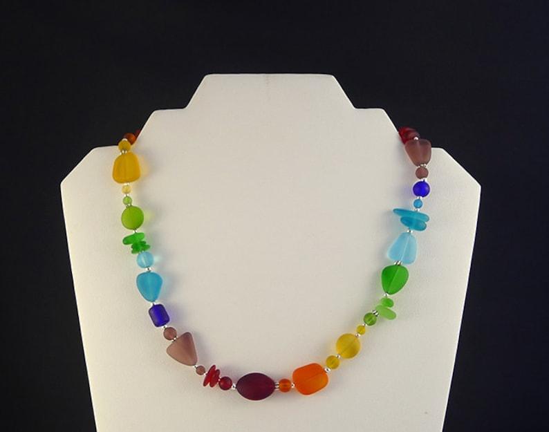 Rainbow sea glass necklace seaglass jewelry sea glass jewelry image 0
