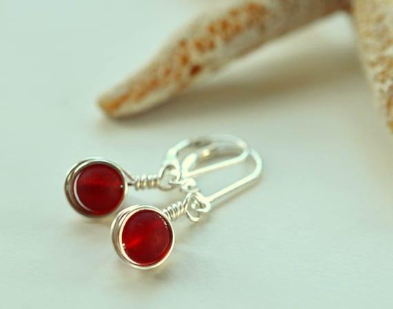 Rotes Meer Glas Hebel zurück Ohrringe Brisuren Sterling Silber | Etsy