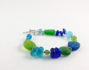 Sea glass bracelet cobalt blue sea glass jewelry green seaglass bracelet frosted glass jewelry beaded jewelry beaded bracelet handmade gift