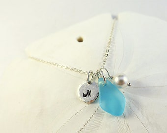 Blue sea glas necklace customized necklace personalized jewelry with letter with initial monogram custom seaglass jewelry sterling silver