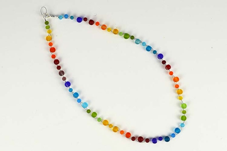 Rainbow necklace sea glass necklace sea glass jewelry seaglass beach glass handmade necklace rainbow jewelry Christmas gift for mom sister