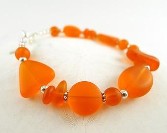 Orange sea glass bracelet sea glass jewelry handmade jewelry seaglass bracelet seaglass jewelry frosted glass beads jewelry bridesmaids gift