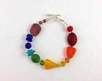 Rainbow sea glass bracelet seaglass bracelet rainbow bracelet glass beads sea glass jewelry seaglass jewelry rainbow jewelry handmade beaded