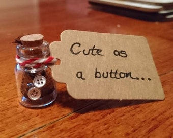 Cute as a button silver plated stud earrings in mini jar