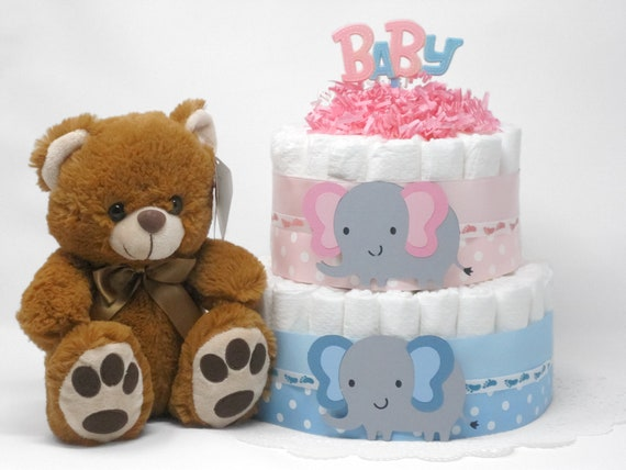 d1fb9042cdd1 Gender Reveal Twins Pink And Blue Elephant Diaper Cake Baby
