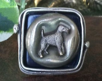 """Terrier Vintage Dog Button """"Statement"""" Ring - Upcycled/Repurposed Fashion Jewelry - Wedding Party Gift"""