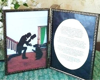 """Double Framed """"Lincoln's Farewell to Fido"""" - (5""""x7"""") for Tabletop Display - Original Silhouette Civil War Dog Art"""