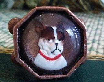 "French Bulldog Portrait Cabochon ""Statement"" Ring - Distinctive Octagonal Copper Setting - Wedding Party Gift"
