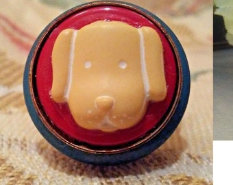 """Fun Puppy Dog Face Button """"Statement"""" Ring - Upcycled/Repurposed Fashion Jewelry - Wedding Party Gift"""