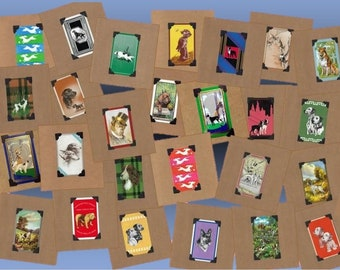 Pick 6 - Vintage Dogs Birthday/Blank Note Set (Choose your favorites!)-Upcycled Playing Cards-with a gallery of greetings to choose from!