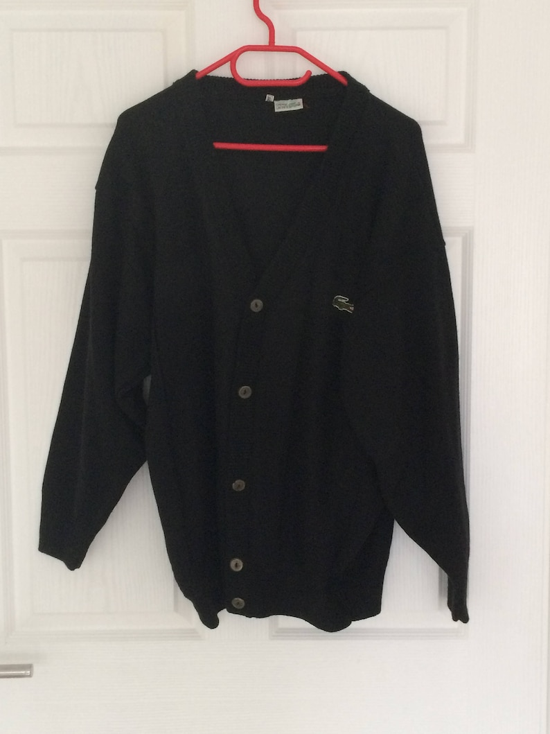 6c28491032dc2 Authentic vintage women LACOSTE Cardigan / sweater / black sweater / size XL