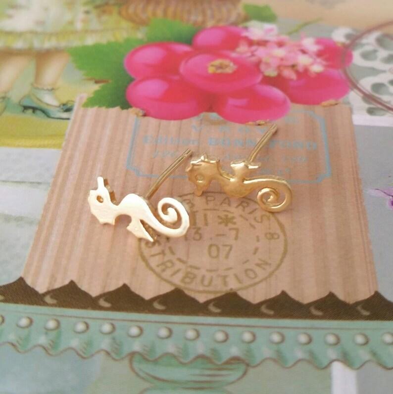 Sea dragon studs Seahorse studs Gold seahorse studs Seahorse stud earrings Gold sea horse studs Sea horse studs Gold sea dragon studs