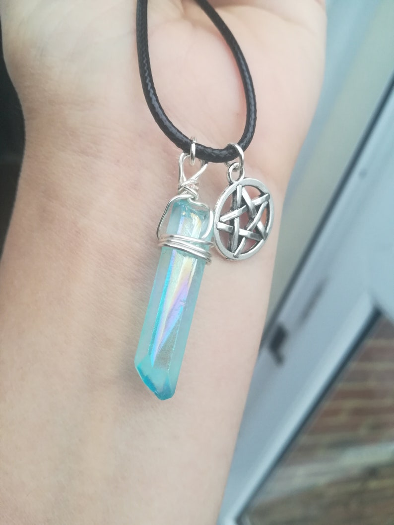 Quartz crystal free postage uk pentagram Jewelry witch pendant gift for her mystical gothic aqua Wicca pagan witch birthday gift,moon