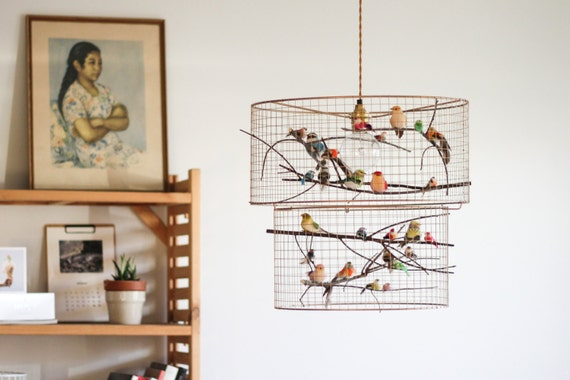 Double birdcage pendant light chandelier aloadofball Image collections