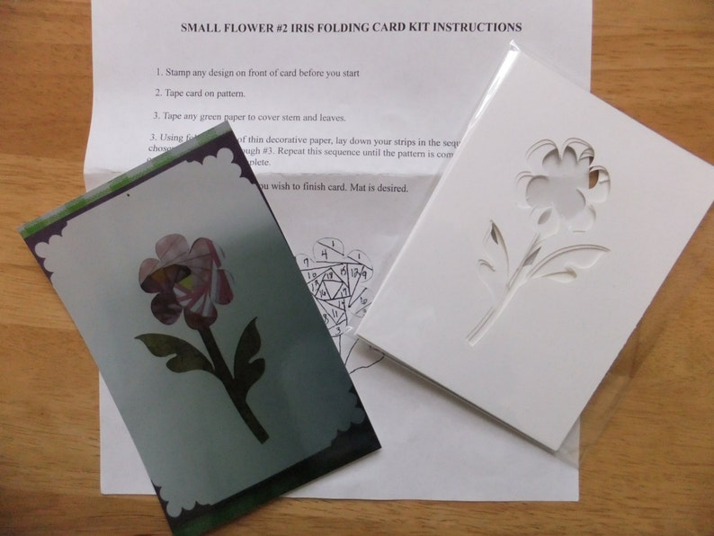 Iris Folding Kit Flower With 6 Card Fronts And Pattern