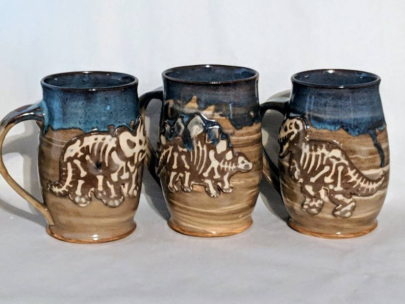 T-REX and TRICERATOPS FOSSIL MUGS