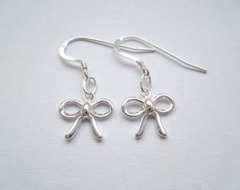 Sterling Silver 925 Bow Drop Earrings