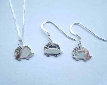 Sterling Silver 925 Hedgehog Necklace & Earrings Set
