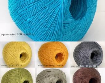 Pure 100% linen yarn 100 g ball/ Linen crocheting thread/ Linen knitting yarn/ Natural linen thread/ High quality linen lace yarn