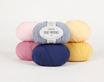 DROPS Baby Merino superwash thread extra fine merino wool yarn 100% Wool  191yds/175m 1.8oz/50g Group A Garnstudio
