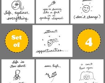 BittyDoodles - Hand-Doodled card - SET OF 4