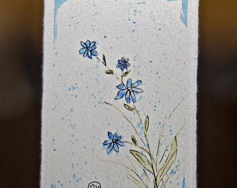 Little Blue Watercolor Wildflower