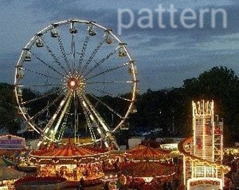County fair cross stitch pattern, pattern keeper, carnival pattern, fairgrounds cross stitch, Ferris wheel pattern, pdf pattern