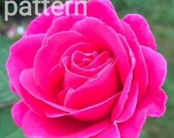 Dark pink rose cross stitch pattern, flower pattern, pdf pattern, counted cross stitch, modern cross stitch, nature cross stitch