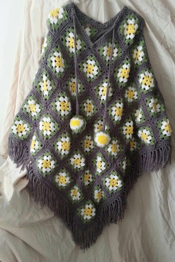 Crochet Granny Square Poncho Pattern Poncho Pattern Crochet Etsy