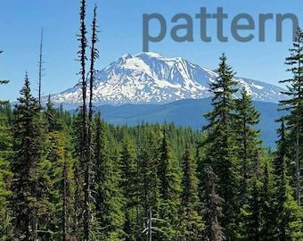 Mt. Adams cross stitch pattern, mountain pattern, Washington state, pattern keeper, pdf pattern, scenic cross stitch, counted cross stitch