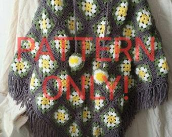 Crochet granny square poncho pattern, poncho pattern, crochet poncho pattern, crochet pattern, granny square pattern