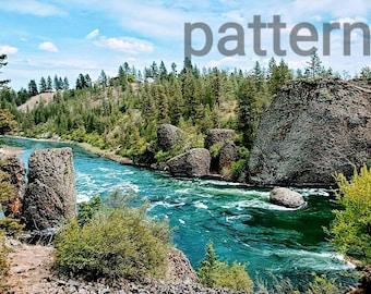 Spokane river cross stitch pattern, nature cross stitch, scenic pattern, pattern keeper, pdf pattern, modern cross stitch, wilderness patter